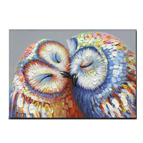 Kissed Owls Couple Canvas Print Picture Kissed Owls Couple Wall Art Home Decor Owl Painting Owl Poster Living Room Bedroom Decor 50x70cm No Frame
