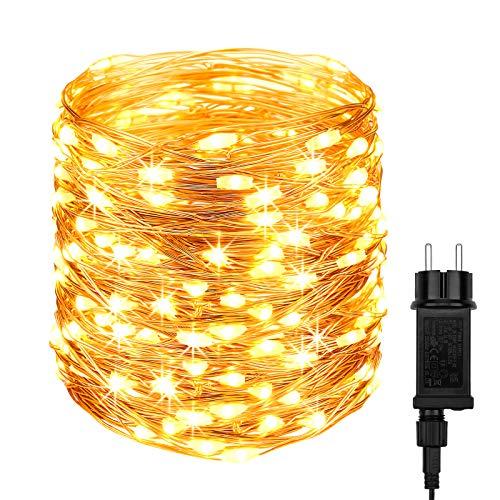 DeepDream LED Stringa Luci con spina,20M 200LED filo rame catena luminosa interni ed esterno Impermeabile IP65 Ghirlanda Luminosa Per Natale Casa Feste Matrimonio San Valentino(Bianco Caldo)