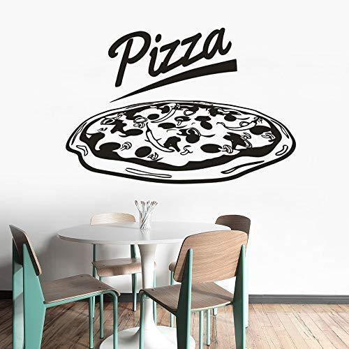 Pizza Logo Vinyl Aufkleber Restaurant Pizza Shop Vinyl Fenster Aufkleber abnehmbare Pizza Shop Wandkunst Poster Küche Wanddekoration andere Farbe 42x29cm