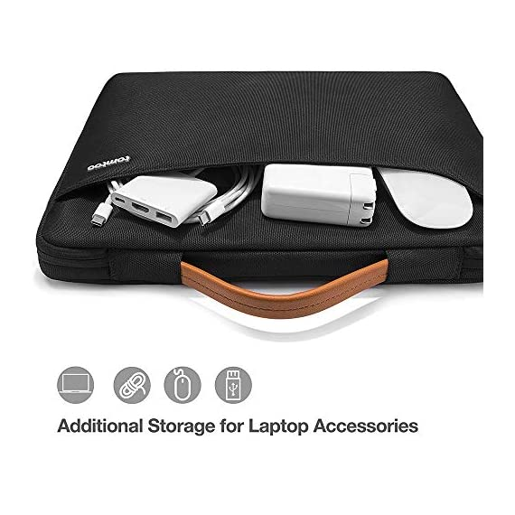tomtoc Recycled Laptop Sleeve for 13-inch MacBook Air M1/A2337 2018-2021, MacBook Pro with USB-C M1/A2338 2016-2021, 12… 2 CornerArmor Patent Design - Protective CornerArmor patent design at the bottom of the case and 360° protective soft padding around inside protect your laptop from bumps in accident, just like the Car Airbag Stay Organized – Except the main compartment for your laptop, this case also features a second large zipper compartment for additional storage such as iPad mini, charger, power adaptors, cables, mouse and other accessories Ultra-Secure – Specially designed secure belt with Velcro inside the 180° opening main compartment protect your laptop from sudden drop. Ultra-thick protective cushioning interior ensures your laptop from bumps, dents, scratches and spills at all times