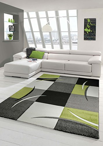 Designer Teppich Moderner Teppich Wohnzimmer Teppich Kurzflor Teppich mit Konturenschnitt Karo Muster Grün Grau Creme Schwarz Größe 160x230 cm