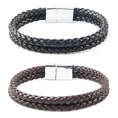 VIEKUU 2 Stück Armbänder Lederarmbänder für Männer Armband-Set MannHerren Damen Unisex