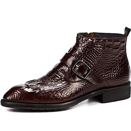 QIKAI Herren Lederschuhe Krokodilleder Stiefel Martin Stiefel Spitze Stiefel Kurze Stiefel Chelsea Stiefel Brown-40