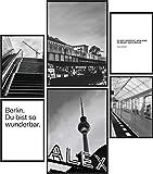Papierschmiede® Mood-Poster Set Berlin Schwarz-Weiß | 6