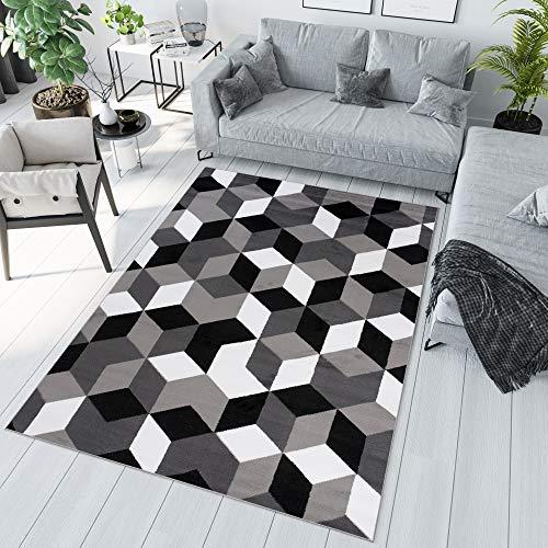 TAPISO Maya Tapis de Salon Chambre Ado Design Moderne Gris Noir Blanc Géométrique Cube Mosaïque Fin Résistant 120 x 170 cm
