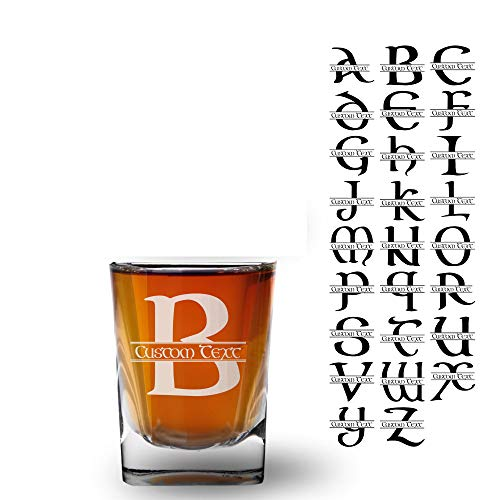 Celtic Initial 2.5oz Shot glass shooter (one) Split Monogram w/Free Customization