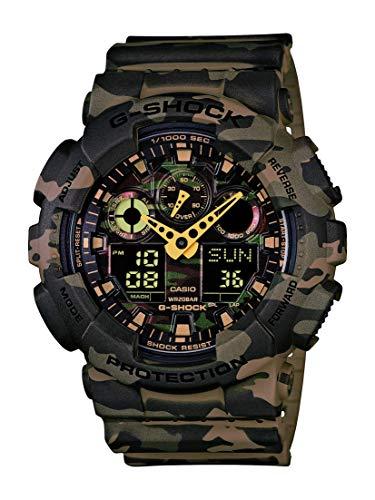 Casio Men's GA-100 XL Series G-Shock Quartz 200M WR Shock Resistant Watch, Woodland Camouflage (Model: GA-100CM-5ACR)