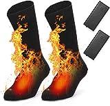 EDUPUP Chaussettes chauffantes électriques chauffantes pour Homme et Femme en Coton Chaud pour Sports de Plein air – Camping, pêche, Cyclisme, Moto, Patinage et Ski (Black)