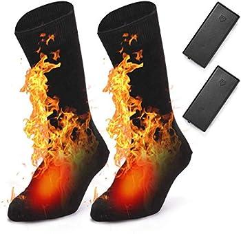 BAOTWO Chaussettes chauffantes électriques pour Homme et Femme, Chaussettes d'hiver Chaudes en Coton pour Sports de Plein air ? Camping, pêche, Cyclisme, Moto, Patinage et Ski