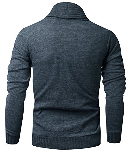 HARRISON83 Mens Slim Fit Basic Button Up Shawl Collar Knit Cardigan Sweater /A_NS1095-CHARCOAL-L