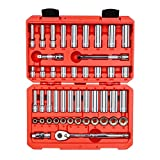TEKTON 3/8 Inch Drive 12-Point Socket & Ratchet Set, 47-Piece (5/16-3/4 in., 8-19 mm) | SKT15302