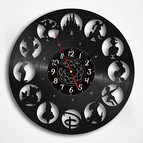OhMyGifs Disney World Vinyl Record Wall Clock - Disney World Map Accessories Guide Furniture Kids Poster Walt for Women History