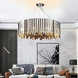 DC Wesley Lámpara geométrica de cristal de lujo de acero inoxidable para el dormitorio, lámpara LED de araña cromada 80 x 28 cm