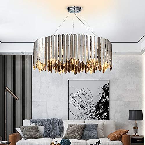 ZXJUAN stijl kristal eenvoudige geometrische lampenlicht roestvrij staal woonkamer slaapkamer lamp LED kroonluchter chroom 80 * 28 cm