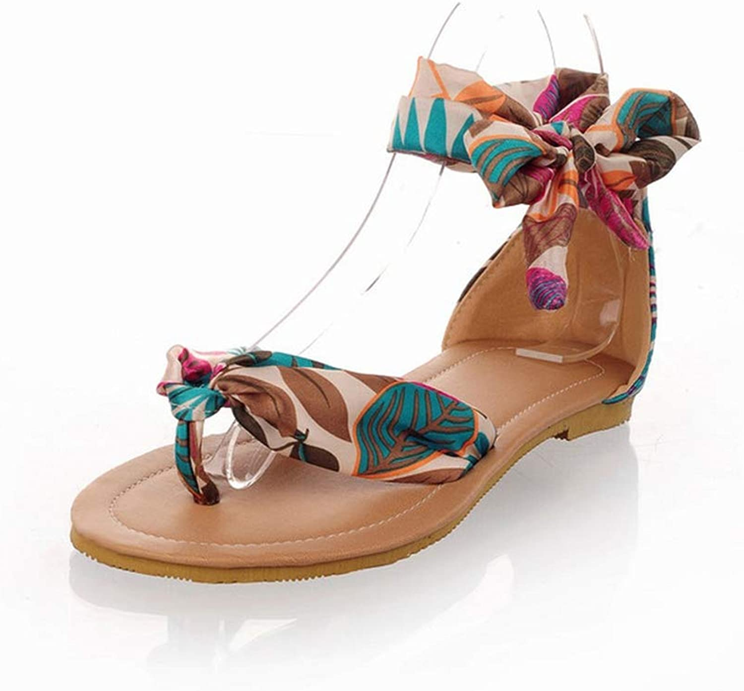Women Flatform Sandals Bohemian Ribbon Sandal Comfy Thin Belt Non-Slip Breathable shoes Leather Casual shoes,bluee,39