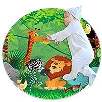 エリアラグ軽量 漫画の動物の熱帯のジャングル フロアマットソフトカーペット直径27.6インチホームリビングダイニングルームベッドルーム