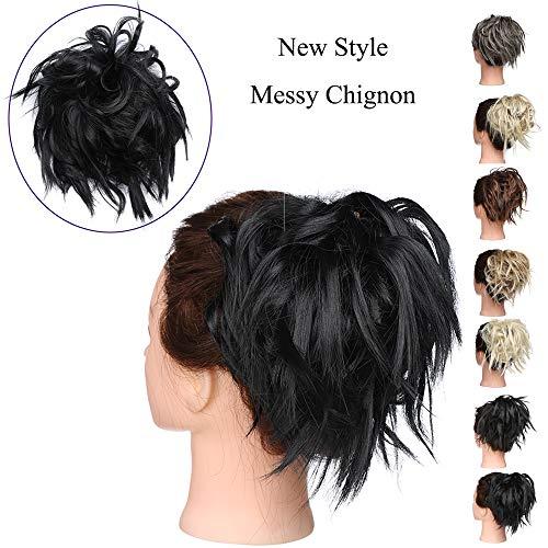 Chignon Capelli Extension Elastico Finti Neri Posticci Ricci Messy Hair Bun Updo Ponytail Extensions Coda di Cavallo Ciambella 45g, Nero Scuro