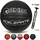 """AND1 Xcelerate Rubber Basketball (Deflated w/Pump Included): Official Regulation Size 7 (29.5"""") Streetball, Made for Indoor/Outdoor Basketball Games, Black Classic"""