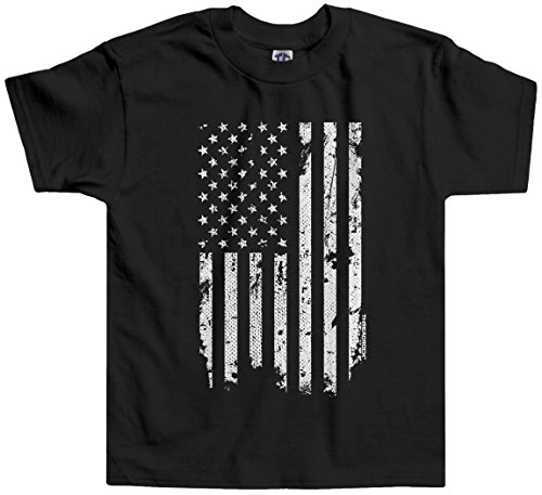 Threadrock Little Boys' Distressed White American Flag Toddler T-Shirt 4T Black