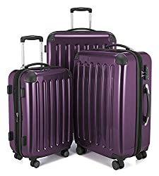 HAUPTSTADTKOFFER Luggages Sets Glossy Suitcase Sets Hardside Spinner Trolley Expandable (20', 24' & 28') TSA (Alex Purple)
