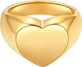 Happiness Boutique Women Chunky Heart Ring Gold Color Signet Ring Stainless Steel Jewelry