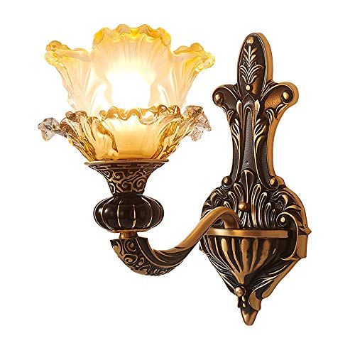 Nordic koper retro wandlamp, nostalgische ingang, glazen bloem, wandlicht, geschikt voor hotel, slaapkamer, hal, deur, decoratieve verlichting