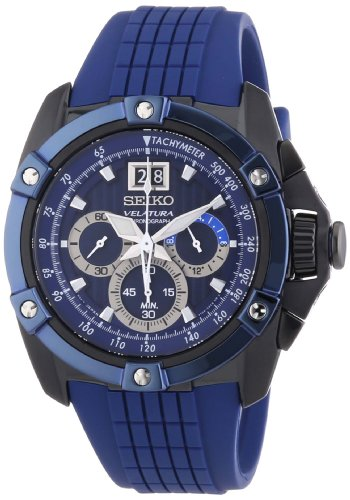 Seiko Velatura - Reloj de Cuarzo para Hombre, Correa de plástico Color Azul