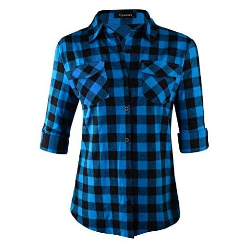 05ab84273b073a Oyamiki Women's Summer Long Sleeve Flannel Plaid Shirt Button Down  Checkered Blouse For Spring Autumn Winter