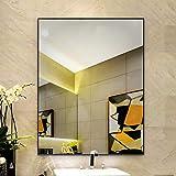 Espejo de baño Rectangular Negro Espejo de Maquillaje con Marco de Aleación de...