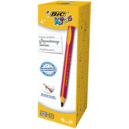BIC Kids Jumbo Triangular Learner Lápices de Grafito HB - Diseño en Rosa, Caja de 12 unidades