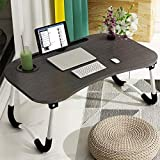 Laptop Desk, Astory Portable Laptop Bed Tray Table Notebook Stand Reading Holder with Foldable Legs & Cup Slot for Eating Breakfast, Reading Book, Watching Movie on Bed/Couch/Sofa (Black)