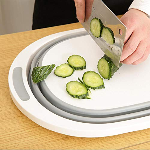 ERFHJ Huishoudelijke multifunctionele opvouwbare snijplank keuken kunststof anti-schimmel antibacteriële plakkerige snijplank fruitschaal fruitmand