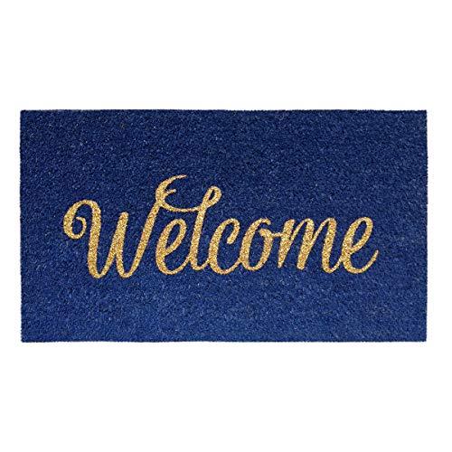 Banzaii Zerbino in Cocco 40 x 70 cm con Retro in PVC Antiscivolo con Effetto Glitter – Welcome Blu