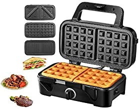 TIBEK Sandwich Maker, Waffle Maker, Sandwich Grill, 1200-Watts, 5-Gears Temperature Control, 3-in-1 Detachable Non-stick Coating Easy to Clean, LED Indicator Lights, Cool Touch Handle, Black