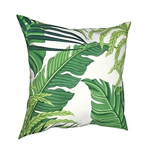 DearLord Fundas de cojín de hojas tropicales verdes de doble cara cuadradas, fundas de almohada para sofá dormitorio con cremallera invisible 45,7 x 45,7 cm