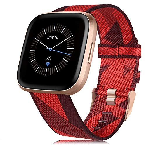RIOROO Compatibile per Fitbit Versa 2 / Versa/Versa Lite Cinturino,Cinturini in Tessuto Nylon Regolabile Sportivo Accessori di Ricambio Donne Uomini,Rosso(Orologio Non è Incluso)