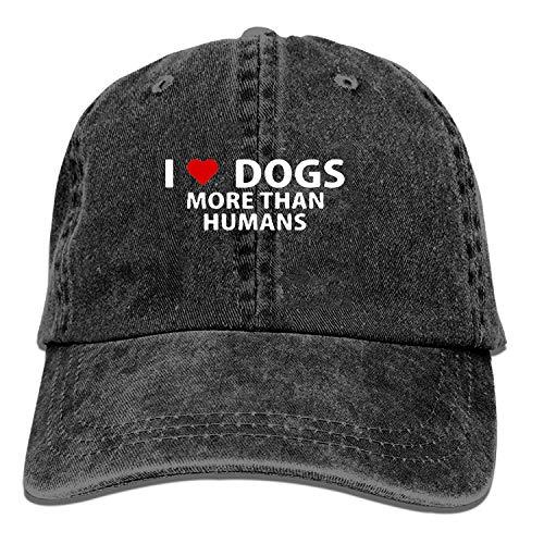 Mens Baseball Cap-I Love Dogs More Than Humans Humor Animal Trucker Caps for Men,...