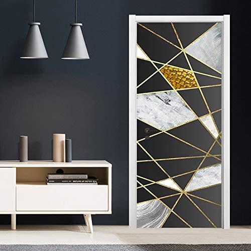 DFKJ Pegatinas de Puerta Moderna línea Dorada patrón de mármol geométrico decoración de Pared Autoadhesivo Pegatinas de Pared Impermeables A1 77x200cm