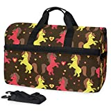 SLHFPX Travel Gym Bag Cute Red And Yellow Unicorn Yoga Overnight Bag With Shoes Compartment Foldable Duffle Bag For Men Women