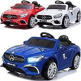 Kinder Elektroauto elektrisches Kinderauto Mercedes Benz SL63 AMG mit 12V Akku 2x45W Motoren USB MP3 Licht Federung