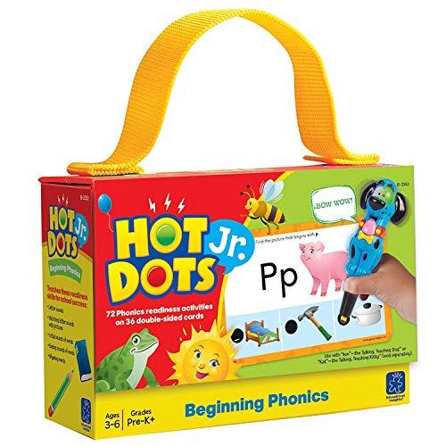 Educational Insights Hot Dots Jr. Beginning Phonics Flash Card Set, 72 Preschool & Kindergarten Activity Cards, Ages 3+