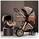 KHUY Baby Stroller and Car Seat Combo, 3 in 1 Adjustable High View Pushchairs and Prams, Pram Strollers System Carriage Pushchair with Stroller Rain Cover, Stroller Foot Cover (Color : Brown)