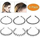 Cerceau à cheveux, 6 PC Headband à cheveux Cerceau à cheveux multi-style Wave Bandeau ondulé Peigne Bande de Cheveux Accessoires pour Hommes et Femmes Noir