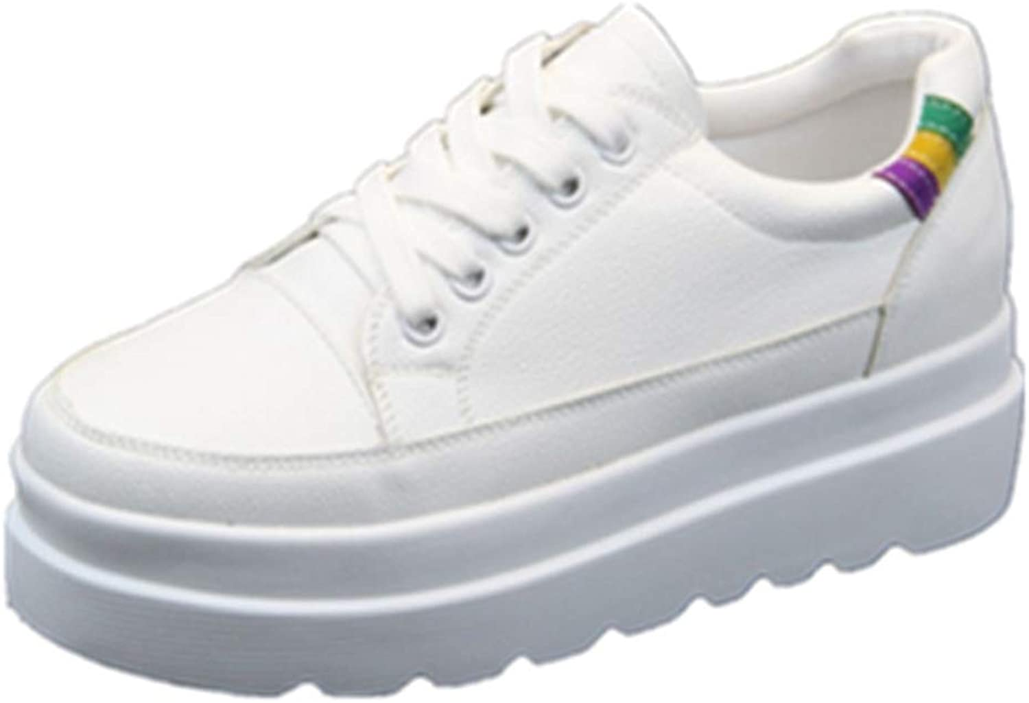 Hoxekle Woman Wedge Platform Sneakers Flat Heel Height Increasing Female Lace Up Casual Walking White Canvas Soft shoes