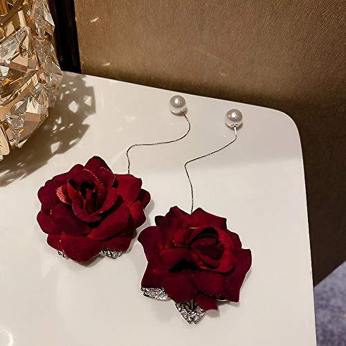 SALAN Elegantes Pendientes Colgantes De Terciopelo Rosa Roja Pendientes De Perlas De Línea De Oreja Larga para Mujer Joyería De Novia De Boda