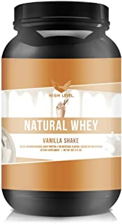 High Level Natural Whey Protein Powder | Vanilla Shake with Stevia | 29g Protein | 2 lb, Ultra Filtered Non-GMO | Digestiv...