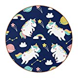 Set of 6 Coasters for Drinks Absorbing Round Coaster Leather Materia, Planeta Unicornio Tabletop Protection Mat for Mugs and Cups, Office, Kitchen 11 cm