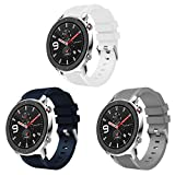 【3 PACK】VICARA for Huawei Watch GT/Huawei Watch GT2/Galaxy Watch 46mm/Gear s3/Ticwatch Pro/S2 /E2 バンド 22mm 柔らかい 通気性 Huawei Watch GT2 ベルト シリコン スポーツに向け(ホワイト/ブルー/グレ)