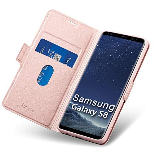 Aunote Samsung Galaxy S8 Hülle, Handyhülle Samsung S8, Schutzhülle Samsung S8, Tasche Samsung S8, Klapphülle Samsung S8, Leder Etui Folio, Flip Phone Cover Case, Hülle Samsung S8 klappbar. Rosegold