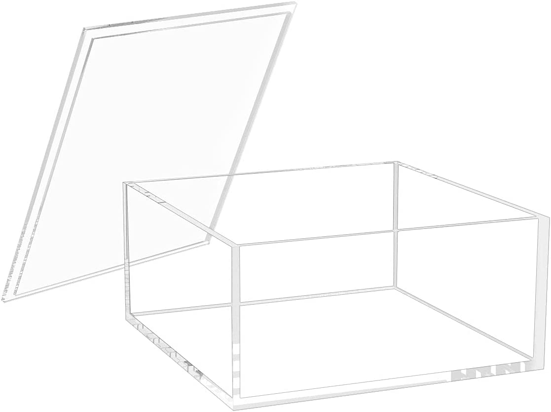 Inexpensive NIUBEE Decorative Acrylic Box with Stackab Lid Ranking TOP6 Clear Square
